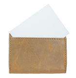 White paper in leather wallet. Royalty Free Stock Photos