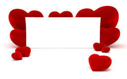 White paper for message and red heart shapes Stock Image