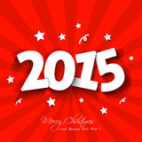 White paper 2015 New Year party invitation. With stars on red background greeting card sample Royalty Free Stock Images