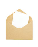 White paper note and brown envelope Royalty Free Stock Photo