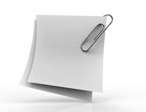 White paper note with chrome clip Stock Image
