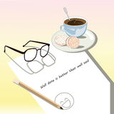 White paper note with cup of coffee Stock Photos