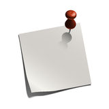 White paper note with a pin Royalty Free Stock Photo