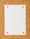 White paper note sheet with red push pin on cork board Stock Images