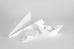 White paper objects on a white background. Collection of White paper objects Royalty Free Stock Photo