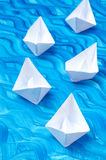 White paper origami boats Royalty Free Stock Images
