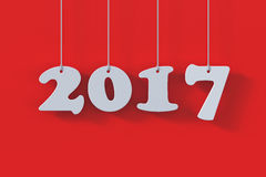 2017 white paper origami card on red background. 3d render of 2017 white paper origami card on red background vector illustration