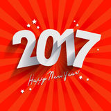 2017 White Paper Origami Happy new Year card or background. 2017 White Paper Origami Happy new Year red card or background Stock Images