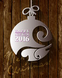 2016 White Paper Origami Happy New Year card. On wood background Vector Illustration