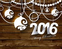 2016 White Paper Origami Happy New Year card. On wood background Stock Illustration