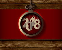 2018 White Paper Origami Happy New Year card on wood background.  Royalty Free Stock Images