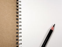 White paper page of Note Book and Pencil Royalty Free Stock Photos