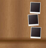 White paper picture frame on wood Royalty Free Stock Images