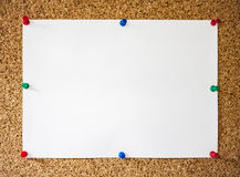White paper pinned on cork board Royalty Free Stock Image