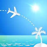 White paper plane flying to the island with palm Stock Photography