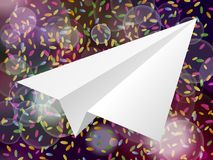 White  paper plane icon on a pink purple background with style g. Lare blur Stock Photography