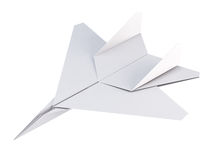 White paper plane on a white background. 3d rendering Stock Image
