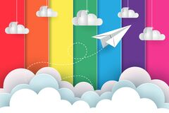 Free White Paper Planes Fly On The Background Rainbow Colorful While Flying Above A Cloud Stock Image - 180212661