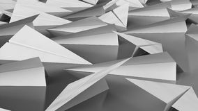 White Paper Planes on a Modern Reflective Black Surface Stock Photography