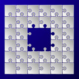 White paper puzzle pieces frame border Stock Images