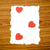 White paper and red heart Stock Image