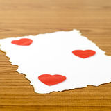 White paper and red heart Stock Photos