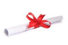 White paper with red ribbon Stock Image