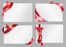 White paper with red ribbon design. Set of blank white paper with stylish red ribbon design Royalty Free Stock Images