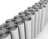 White paper rolls. Stand on white surface. Isolated. 3D Illustration vector illustration