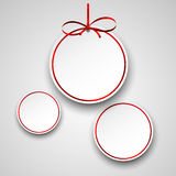 White paper round holiday labels. Holiday paper round labels. Christmas balls. Vector illustration Royalty Free Stock Photos