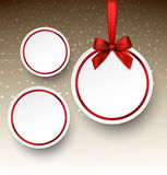 White paper round holiday labels. Holiday paper round labels. Christmas balls. Vector illustration Stock Image