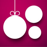 White paper round holiday labels. Holiday paper round labels. Christmas balls. Vector illustration Stock Photos