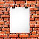 White paper sheet on brick wall. Vector background Royalty Free Stock Photos