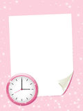 White paper sheet with clock. Royalty Free Stock Images