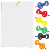 White paper sheet and motley pins set Stock Images