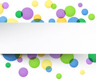 White paper sheet over color bubbles. Royalty Free Stock Photos