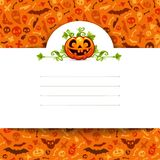 White Paper Sheet with Pumpkin on Halloween Background Royalty Free Stock Image