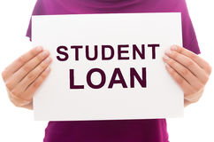 White paper sheet with text Student loan Stock Photos