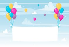 White paper sheet or textile flying with colorful balloons. Happy birthday or celebration banner or card or poster