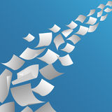 White paper sheets flying in the air Stock Images