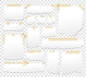 White paper sheets with scotch tape set. Sticky papers with adhesive sellotape stripes vector illustration. Stock Photography