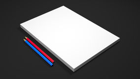 White A4 paper sheets with two pencils on black background. High resolution 3d render. Royalty Free Stock Photography