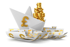 White paper ship GBP Royalty Free Stock Images
