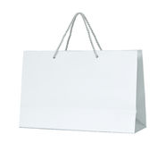 White paper shopping bag isolated on white Royalty Free Stock Images