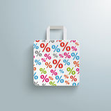 White Paper Shopping Bag Percents Stock Photography