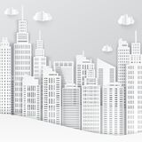 White paper skyscrapers. Achitectural building in panoramic view. Modern city skyline building industrial paper art landscape skyscraper offices. Vector Stock Photos