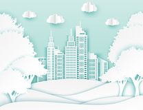 White paper skyscrapers and trees. Achitectural building in panoramic view. Modern city skyline building industrial paper art landscape skyscraper offices Stock Image
