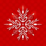 White Paper Snowflake on Christmas Background Royalty Free Stock Photography