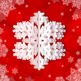 White paper snowflake on red ornate background. White paper vector snowflake on red ornate background Royalty Free Stock Photos