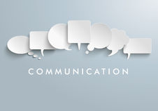 White Paper Speech Balloons Communication. White paper communication bubbles on the gray background royalty free illustration